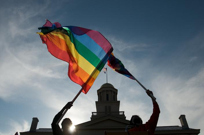 Gay, lesbian and transgender activist in Iowa City, Iowa.  (Photo by David Greedy / Getty Images)