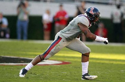 Mississippi linebacker Denzel Nkemdiche reacts after a Georgia fumble in the first half of an NCAA college football game on Saturday, Nov. 3, 2012, in Athens, Ga. (AP Photo/John Bazemore)