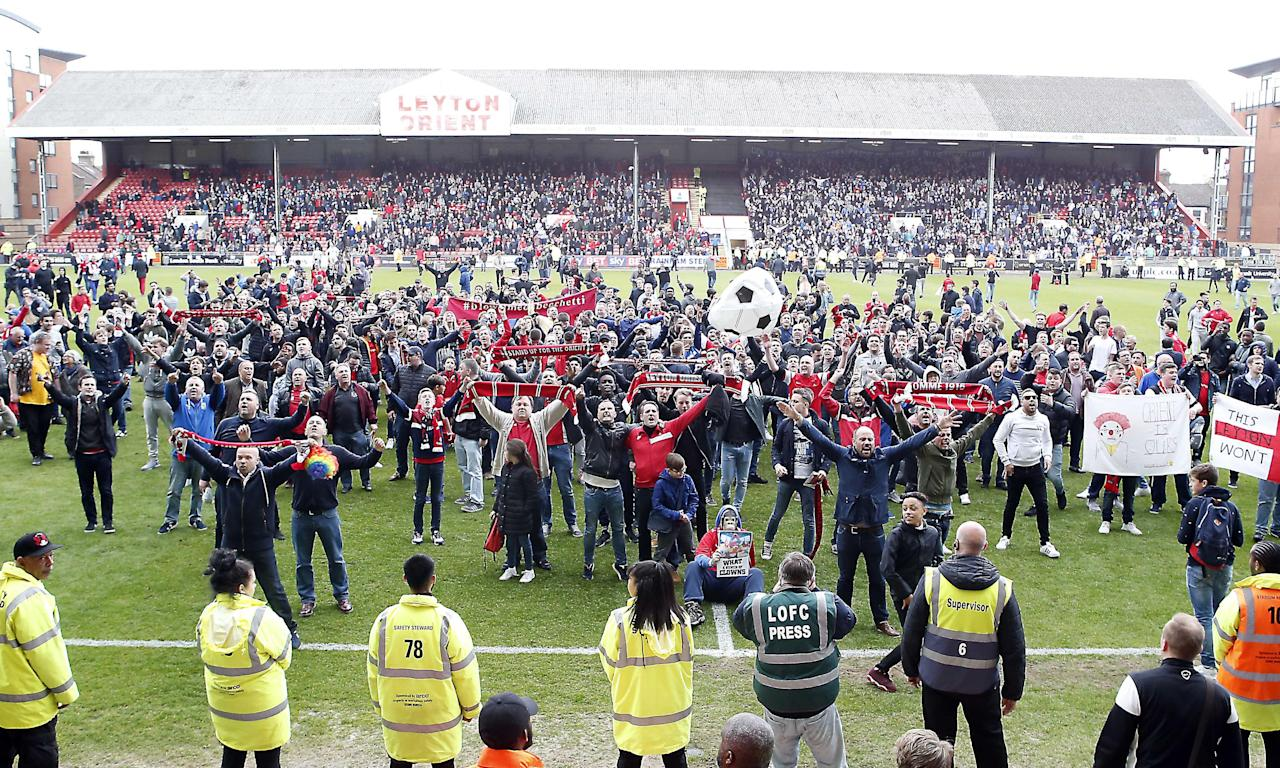 Leyton Orient fans protest at the Colchester United match in April which saw London's second oldest club consigned to the Conference. The game was ultimately held up in the 85th minute and two hours later the final eight minutes were completed behind closed doors.