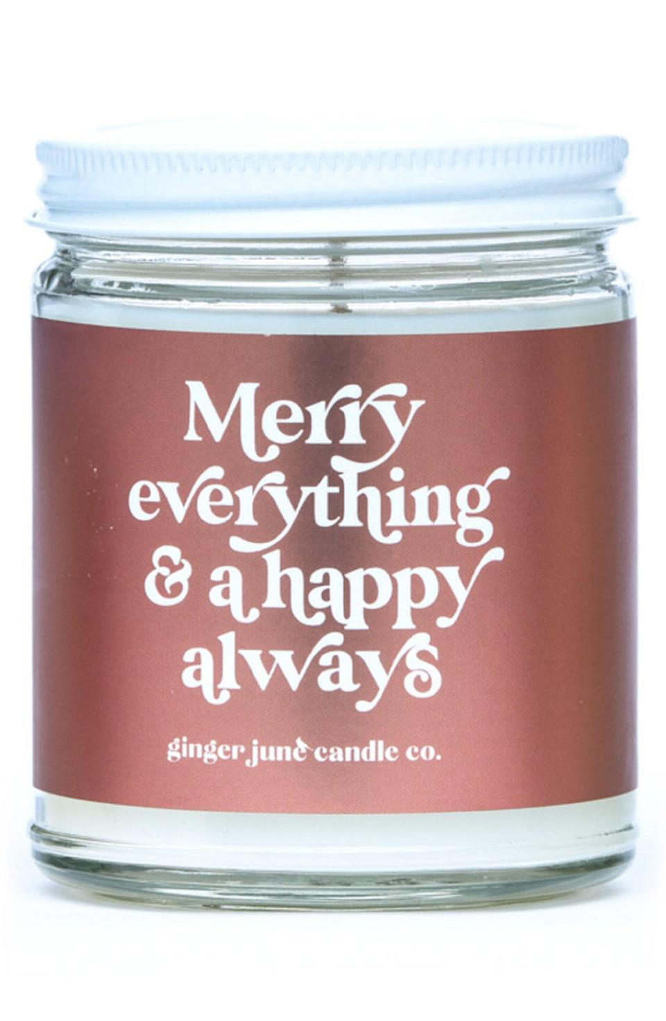 """<p><strong>GINGER JUNE CANDLE CO.</strong></p><p>nordstrom.com</p><p><strong>$10.50</strong></p><p><a href=""""https://go.redirectingat.com?id=74968X1596630&url=https%3A%2F%2Fwww.nordstrom.com%2Fs%2Fginger-june-candle-co-merry-everything-a-happy-always-large-jar-candle%2F5769697&sref=https%3A%2F%2Fwww.marieclaire.com%2Ffashion%2Fg35090742%2Fnordstrom-half-yearly-sale-2020%2F"""" rel=""""nofollow noopener"""" target=""""_blank"""" data-ylk=""""slk:Shop Now"""" class=""""link rapid-noclick-resp"""">Shop Now</a></p>"""