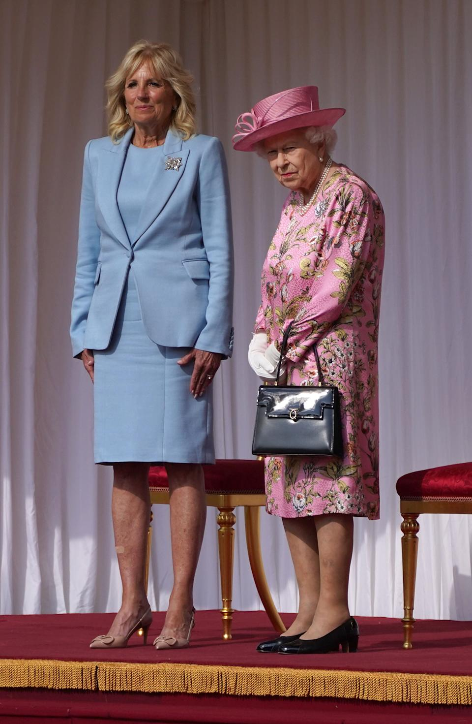 Queen Elizabeth II (right) with First Lady Jill Biden during her visit to Windsor Castle in Berkshire. Picture date: Sunday June 13, 2021.