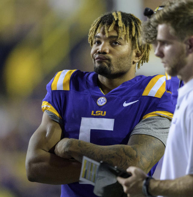 LSU running back Derrius Guice (5) reacts during his team's loss to Troy. (AP)