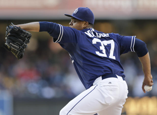 San Diego Padres starting pitcher Edinson Volquez throws against the New York Mets during the first inning in a baseball game on Saturday, Aug. 17, 2013, in San Diego. (AP Photo/Gregory Bull)