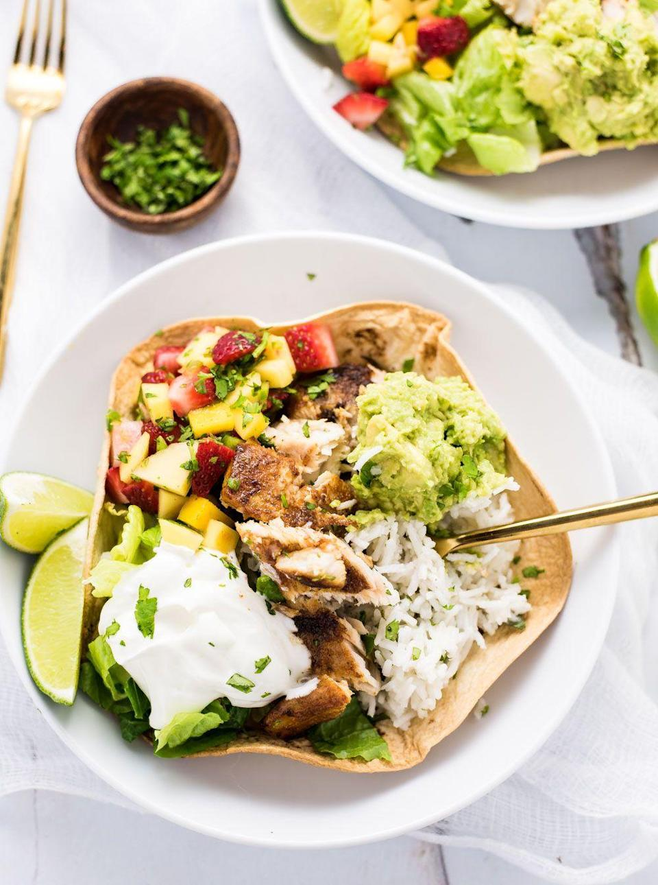 "<p>Way better than standing in line at Chipotle.</p><p>Get the recipe from <a href=""http://www.cookingandbeer.com/2016/06/grilled-fish-taco-burrito-bowls/"" rel=""nofollow noopener"" target=""_blank"" data-ylk=""slk:Cooking and Beer"" class=""link rapid-noclick-resp"">Cooking and Beer</a>.</p>"