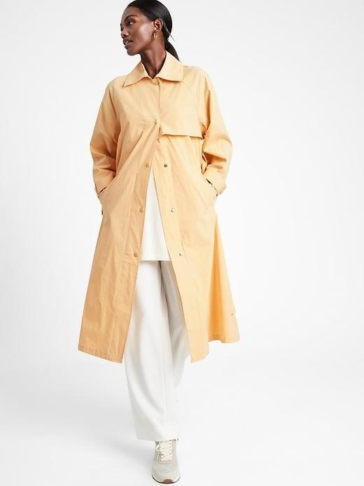 <p>A water-resistant <span>Banana Republic Oversized Rain Coat</span> ($152, originally $169) is pretty in blue-gray, but this sunny yellow option truly shines.</p>