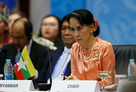 Myanmar State Counselor Aung San Suu Kyi attends the 13th Asia Europe Foreign Ministers Meeting (ASEM) in Naypyitaw