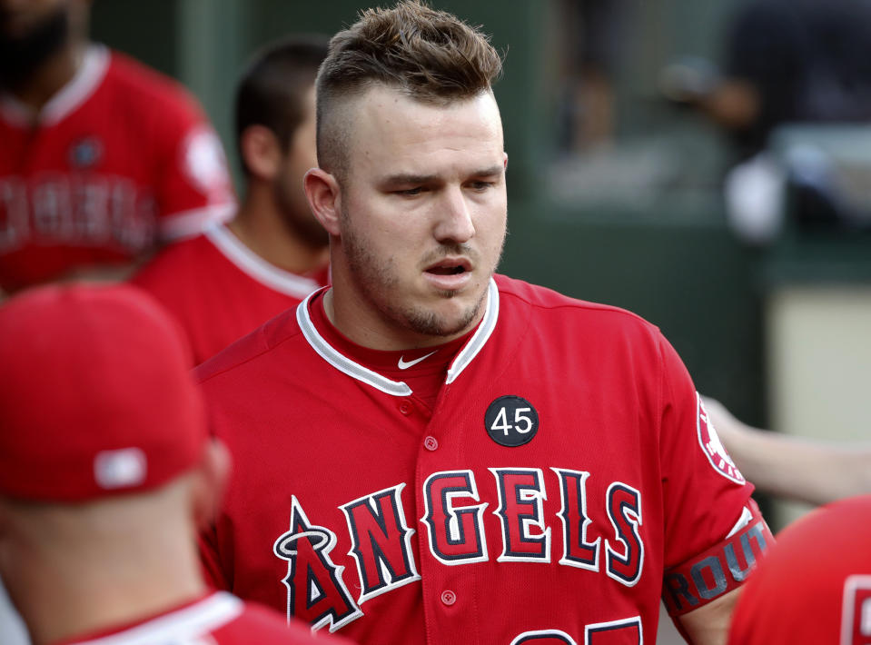 Mike Trout's season was cut short because of a foot injury, but his numbers still might good enough to earn him another MVP award. (AP Photo/Tony Gutierrez)