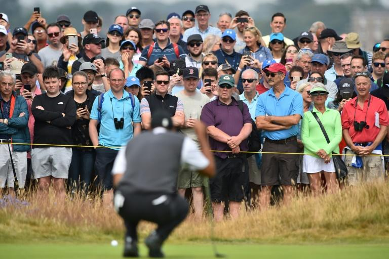 Huge crowds followed Tiger Woods round the course at Carnoustie on Saturday