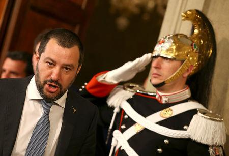 FILE PHOTO: League party leader Matteo Salvini leaves after a meeting with Italian President Sergio Mattarella during the second day of consultations at the Quirinal Palace in Rome, Italy, April 5, 2018.  REUTERS/Alessandro Bianchi/File Photo