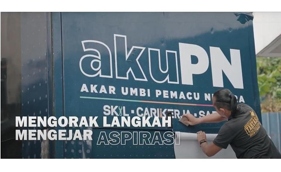 The AkuPN platform consists of three applications namely, 'Cari Kerja', 'Skil' and 'Sapot', for job seekers, those interested in augmenting their skill set and those who wish to grow their business, respectively.  — Screen capture via YouTub
