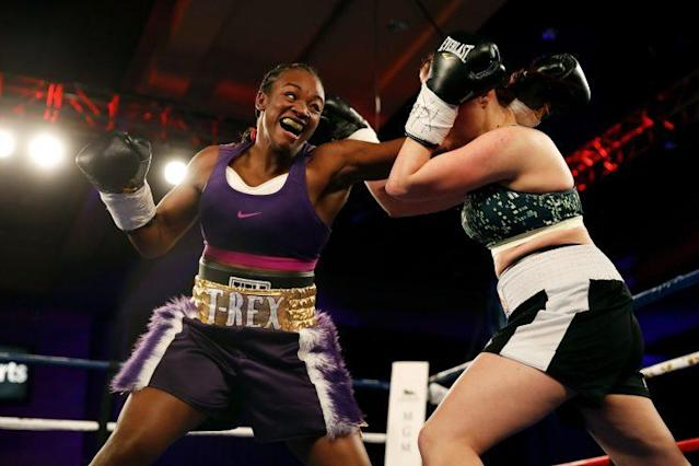 Two-time Olympic gold medalist Claressa Shields (L) will fight Nikki Adler for the WBC and IBF women's super middleweight title on Aug. 4 at the MGM Grand in Detroit. (Getty Images)