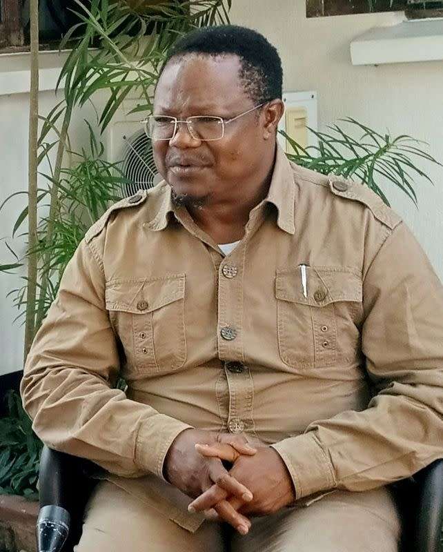 FILE PHOTO: Tanzania's main opposition presidential candidate Tundu Lissu speaks during a Reuters interview in Dar es Salaam