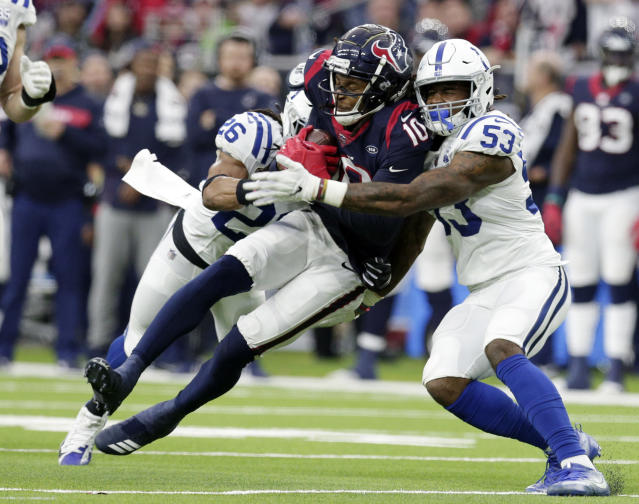 DeAndre Hopkins was held to 37 yards in the Texans' playoff loss. (AP)