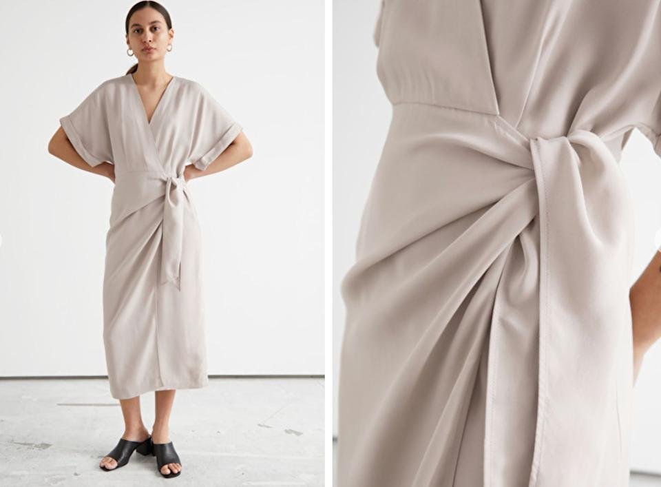 """Fold-up sleeve midi wrap dress from<a href=""""https://go.skimresources.com?id=38395X987171&xs=1&xcust=workclothes-BrittanyWong-060421-&url=https%3A%2F%2Fwww.stories.com%2Fen_usd%2Fclothing%2Fdresses%2Fmidi-dresses%2Fproduct.fold-up-sleeve-midi-wrap-dress-brown.0976186002.html"""" target=""""_blank"""" rel=""""noopener noreferrer"""">& Other Stories,</a> $119. (Photo: <a href=""""https://www.stories.com/en_usd/clothing/dresses/midi-dresses/product.fold-up-sleeve-midi-wrap-dress-brown.0976186002.html"""" target=""""_blank"""">& Other Stories</a>)"""