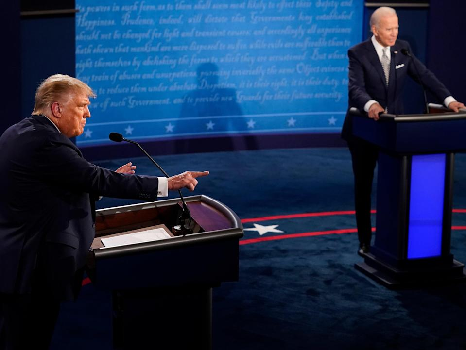 Donald Trump speaks during the first presidential debate against Joe Biden. Despite Mr Trump's claims, Mr Biden's aides say he will be at the next two scheduled debates.  (Getty Images)