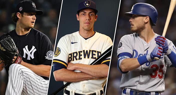 """Who do you think will pay off the most this draft season: <a class=""""link rapid-noclick-resp"""" href=""""/mlb/players/9121/"""" data-ylk=""""slk:Gerrit Cole"""">Gerrit Cole</a>, <a class=""""link rapid-noclick-resp"""" href=""""/mlb/players/9320/"""" data-ylk=""""slk:Christian Yelich"""">Christian Yelich</a>, or <a class=""""link rapid-noclick-resp"""" href=""""/mlb/players/10504/"""" data-ylk=""""slk:Cody Bellinger"""">Cody Bellinger</a>? (Photos by Mark Brown/Jamie Schwaberow/Christian Petersen/Getty Images)"""