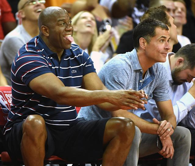 "<a class=""link rapid-noclick-resp"" href=""/nba/teams/lal/"" data-ylk=""slk:Los Angeles Lakers"">Los Angeles Lakers</a> president of basketball operations Magic Johnson and general manager Rob Pelinka watch a game at the NBA's 2017 Las Vegas Summer League. (Getty Images)"