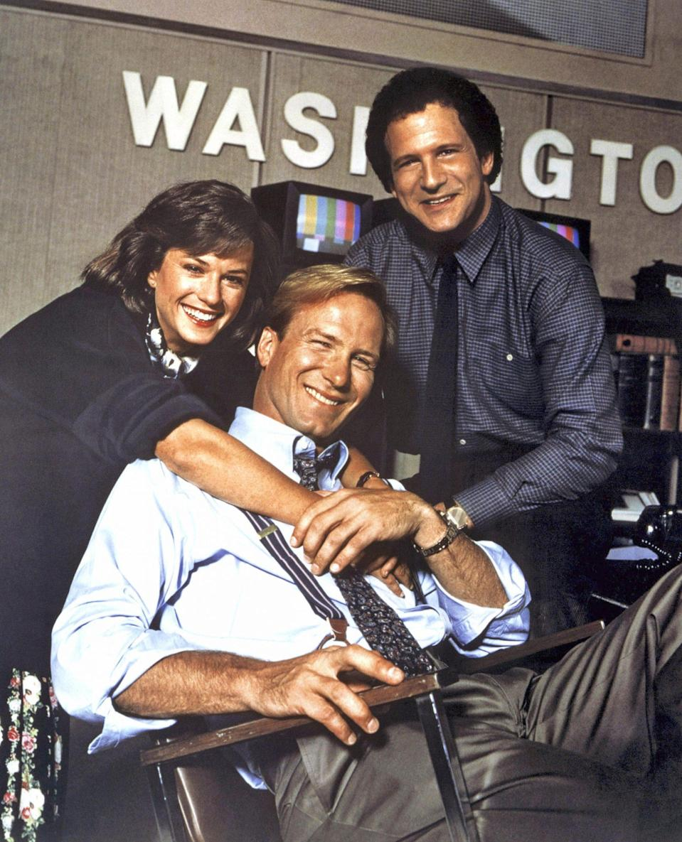 """<p>""""It was so much fun after I got over being petrified,"""" says Hunter of her Oscar-nominated role in 1987's <em>Broadcast News</em> as feisty television news producer Jane Craig (alongside William Hurt and Albert Brooks). """"I've never been given so many breaks by journalists as I was after that [movie]. And that's because of the amount of research [director] Jim Brooks did. It was real."""" </p>"""