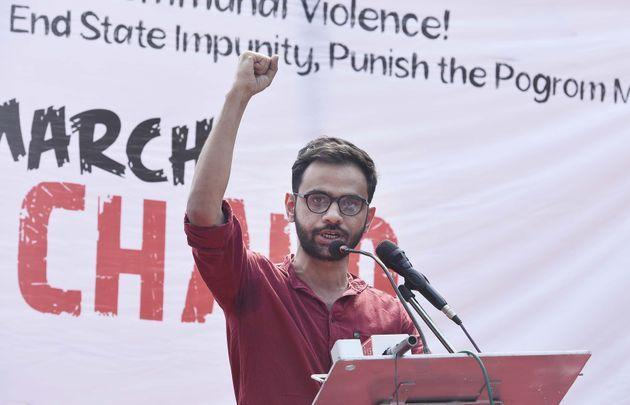Former JNU student Umar Khalid speaks at a protest against Citizenship Amendment Act and the recent communal violence in New Delhi on March 3, 2020.