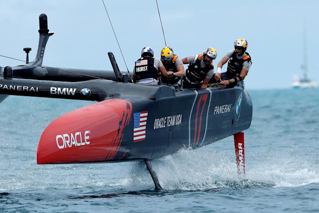 Sailing - America's Cup finals - Hamilton, Bermuda - June 24, 2017 - Oracle Team USA races on their way to beating Emirates Team New Zealand in race six of America's Cup finals. REUTERS/Mike Segar