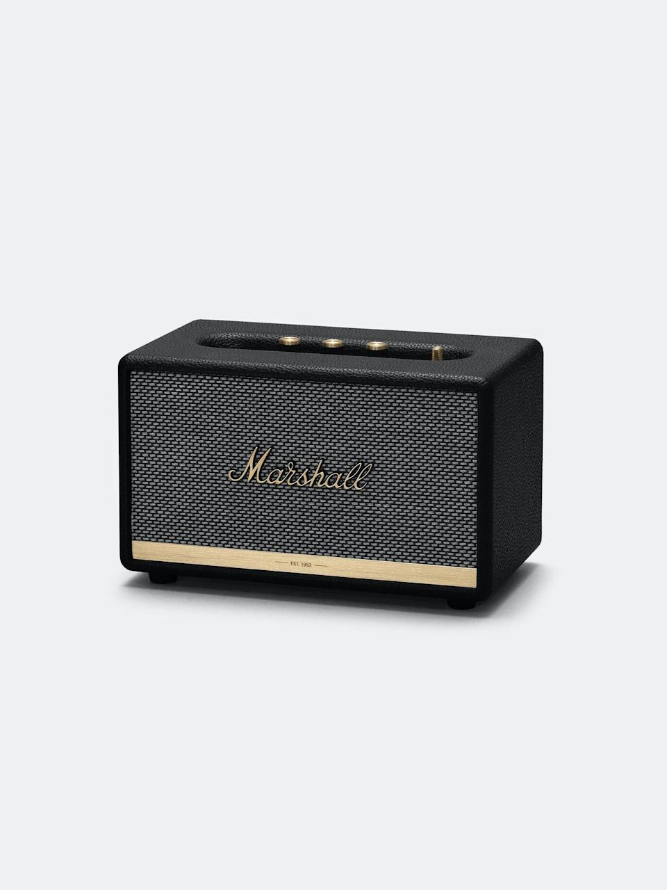 """<p><strong>Marshall</strong></p><p>verishop.com</p><p><strong>$249.00</strong></p><p><a href=""""https://go.redirectingat.com?id=74968X1596630&url=https%3A%2F%2Fwww.verishop.com%2Fmarshall%2Fspeakers%2Facton-home-bluetooth-speaker%2Fp4164273405975%3Fvariant_id%3D30267219214359&sref=https%3A%2F%2Fwww.menshealth.com%2Ftechnology-gear%2Fg35237975%2Flong-distance-relationship-gifts%2F"""" rel=""""nofollow noopener"""" target=""""_blank"""" data-ylk=""""slk:Shop Now"""" class=""""link rapid-noclick-resp"""">Shop Now</a></p><p>A very good (and very pretty) speaker is basically the modern equivalent of burning your love a CD. Only, you know, way better and with infinite possibilities. </p>"""