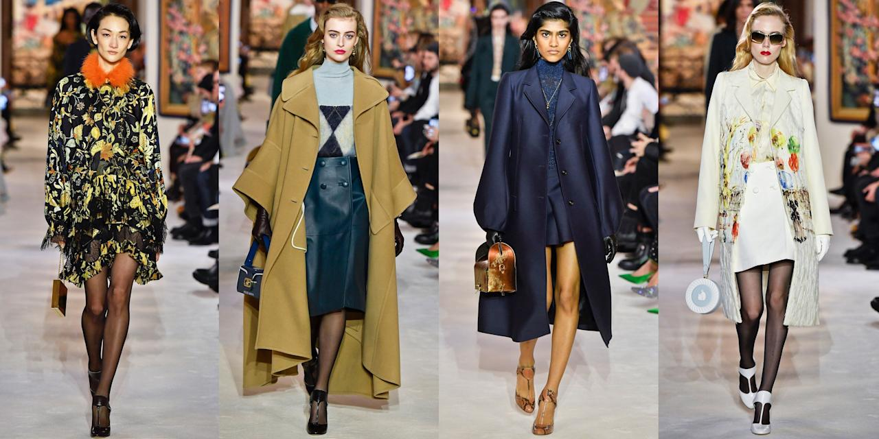 """<p>Lanvin's fall 2020 collection served as a conversation and exploration between the fashion house's current Creative Director Bruno Sialelli and its founder Jeanne Lanvin. The garments referenced the founder's signature creations in the '20s and '30s— her """"robes de style and graphic modernist embroideries... the curvilinear shoulders and structured brevity of tailoring recall mid-century haute couture..."""" Meanwhile, the accessories were inspired by Lanvin's cosmetics like the minaudière handbags, which were formed from """"overscale lipstick and rouge compacts."""" Lanvin launched menswear in 1926, and Sialelli expertly took those masculine lines and gave them a more defined silhouette in his womenswear collection. Make no mistake, though, each borrowed from the other. No matter which piece turns out to be your favorite in the fall 2020 line, slipping into Lanvin will make you feel instantly dressier. Check out all the looks, from the leather cape coats to printed dresses, ahead.</p><p>•••<br></p><p><em>For more stories like this, including celebrity news, beauty and fashion advice, savvy political commentary, and fascinating features, sign up for the </em>Marie Claire<em> newsletter (<a href=""""https://link.marieclaire.com/join/3oa/mar-newsletter?authId=F0CC0C27-80DA-4734-ABDF-E4115B84A56B&maj=WNL&min=ARTICLES"""" target=""""_blank"""">subscribe here</a>).</em></p>"""