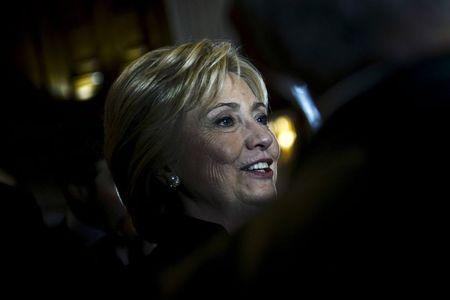 U.S. Democratic presidential candidate and former Secretary of State Hillary Clinton greets supporters after delivering the keynote address at the Brookings Institution Saban Forum at the Willard Hotel in Washington December 6, 2015. REUTERS/James Lawler Duggan