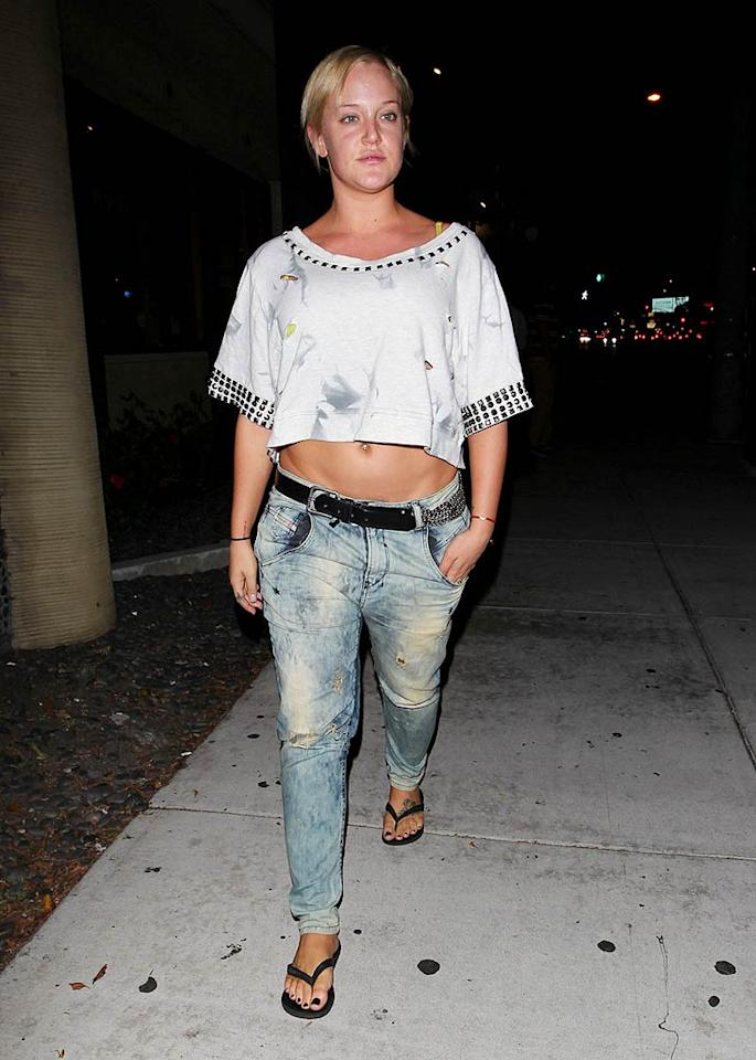 """Dancing With The Stars"" pro Lacey Schwimmer -- who'll be gracing the ballroom floor with Chaz Bono this coming season -- dressed down for dinner in Beverly Hills on Tuesday night. The 23-year-old swing dance specialist made the grave mistake of pairing a dingy crop top with tattered stonewashed jeans and a belly ring. A distinct lack of makeup and limp locks didn't help matters. Hellmuth Dominguez/<a href=""http://www.pacificcoastnews.com/"" target=""new"">PacificCoastNews.com</a> - August 30, 2011"