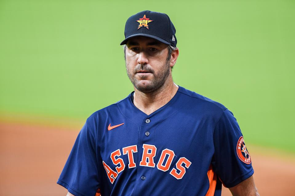 HOUSTON, TX - JULY 14: Houston Astros pitcher, Justin Verlander (35) approaches the dugout during Astros Summer Camp at Minute Maid Park on Monday, July 14, 2020 in Houston, TX. (Photo by Ken Murray/Icon Sportswire via Getty Images)