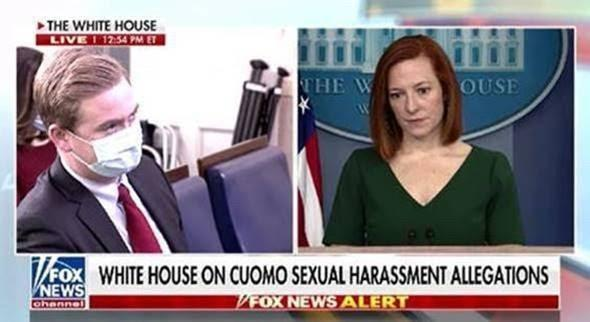 A Fox News screen shot shows images of Peter Doocy and Jen Psaki.