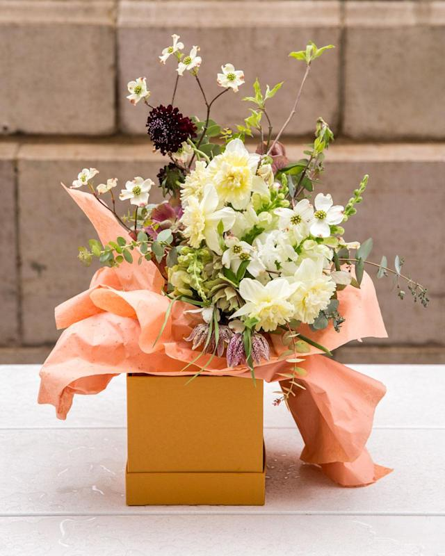 "<p>For the cultured, art loving and liberal mom, this creation from Saipua is the perfect bunch. Currently only NYC delivery but contact them for advice on other notable floral arrangements similar in different parts of the country. <br>Custom bouquet<br><strong>Pricing:</strong> from $65, <a href=""http://saipua.com/flowers/"" rel=""nofollow noopener"" target=""_blank"" data-ylk=""slk:saipua"" class=""link rapid-noclick-resp"">saipua</a><br>(Photo: Priscilla De Castro) </p>"