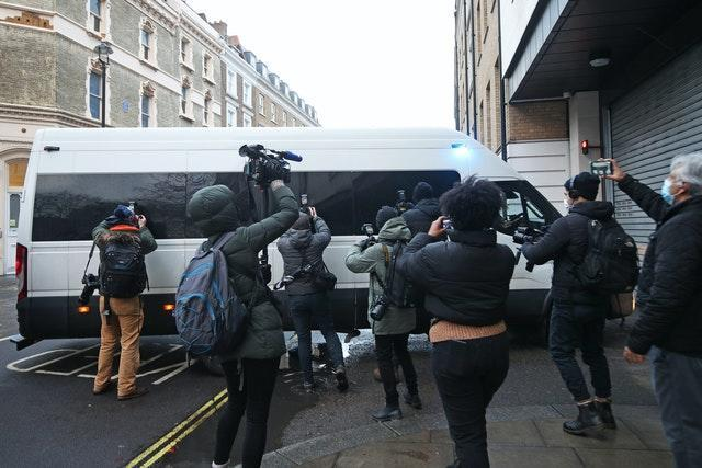 A police van arrives at Westminster Magistrates' Court