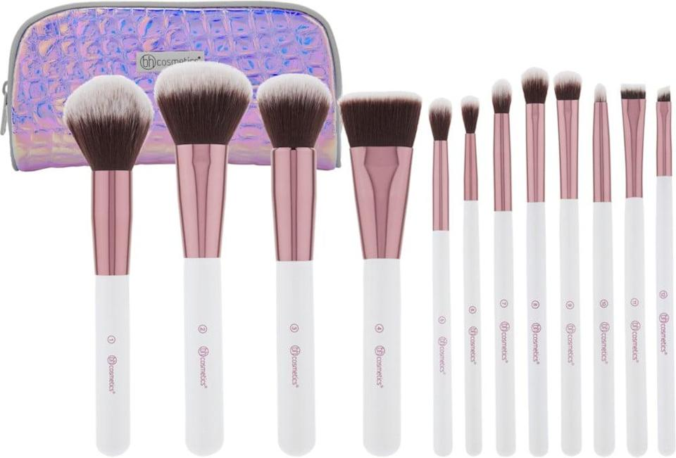 <p>You can't go wrong with a nice set of good quality makeup brushes and these <span>BH Cosmetics Crystal Quartz Brush Set with Cosmetic Bag</span> ($29) are so soft and luxurious. The 12-piece set contains a large powder brush, large rounded bronzing brush, a rounded buffing brush, a flat contour brush, a large blending brush, a tapered blending brush, a domed blending brush, a buffing blending brush, an eye shader brush, a pencil brush, a flat concealer brush, and an angled brow brush.</p>