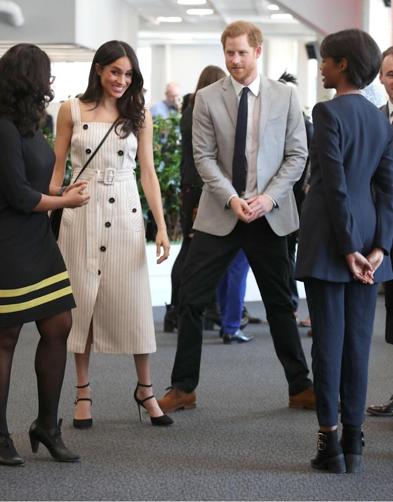 "Critics claimed Meghan's outfit went against royal etiquette, as it was ""unladylike"" for a woman to undress in public. Photo: Getty"