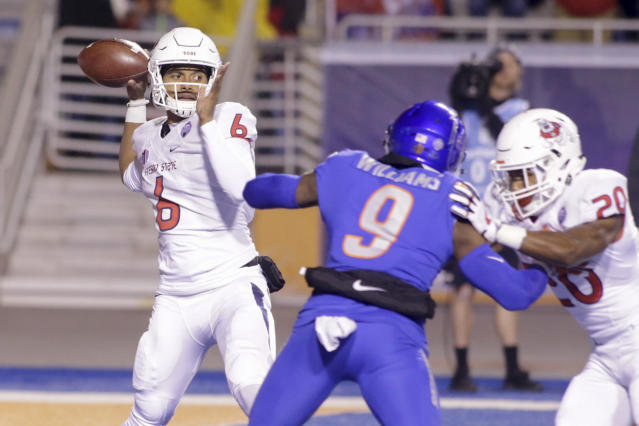 Marcus McMaryion, a graduate transfer from Oregon State, has been a steady presence for Fresno State at quarterback. (AP Photo/Otto Kitsinger)