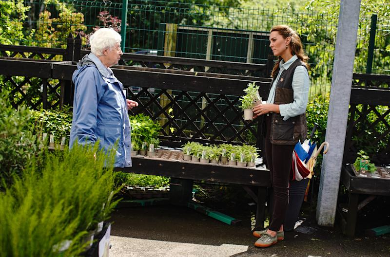 EMBARGOED: No onward transmission before 2100 BST Sat 27/6/2020. Not for publication before 2200 BST Sat 27/6/2020. The Duchess of Cambridge talks with a member of the public as she shops for plants and herbs at Fakenham Garden Centre in Norfolk.