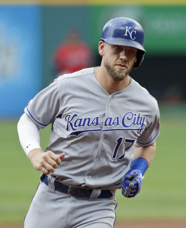 Kansas City Royals' Hunter Dozier runs the bases after hitting a solo home run in the first inning of a baseball game against the Cleveland Indians, Saturday, July 20, 2019, in Cleveland. (AP Photo/Tony Dejak)