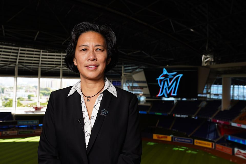 New Marlins GM Kim Ng has made her first trade since taking over. (Joseph Guzy/Miami Marlins Handout Photo via USA TODAY Sports)