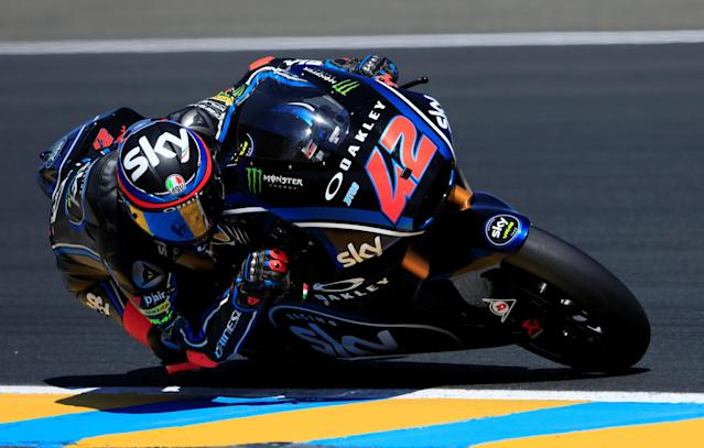Motorcycling - Moto2 - French Grand Prix - Bugatti Circuit, Le Mans, France - May 19, 2018 Sky Racing Team VR46's Francesco Bagnaia during qualifying REUTERS/Gonzalo Fuentes