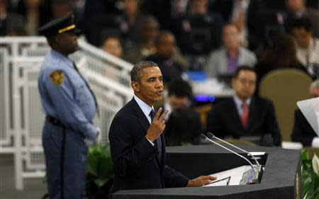 U.S. President Obama addresses the 68th United Nations General Assembly in New York