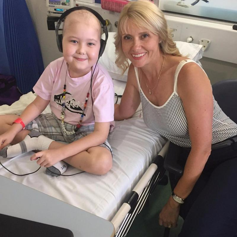 Ollie with his mum Felicity in hospital after he was diagnosed with Leukaemia. Photo: Supplied