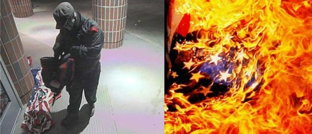 flag burn collage: Horry County Police via WPDE, Getty Images/Adib Katib