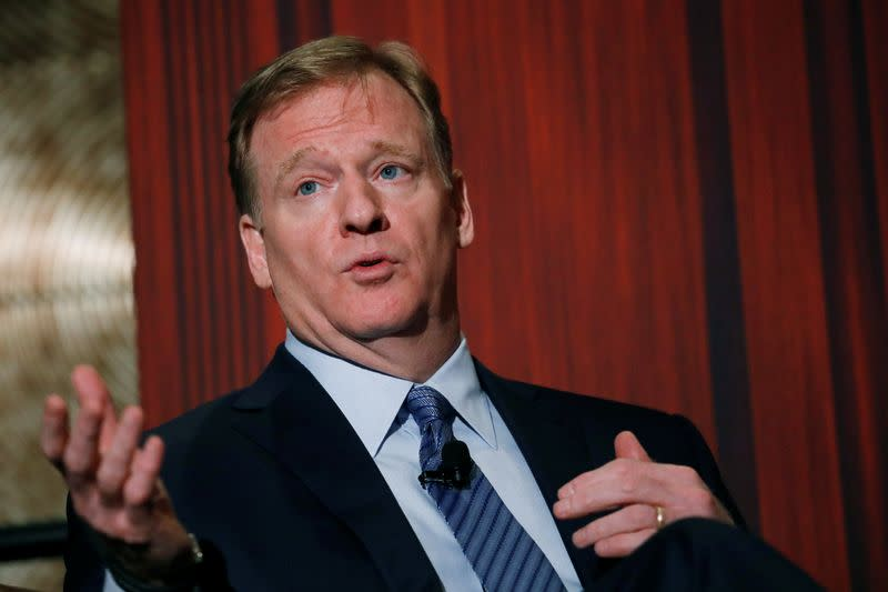 NFL commissioner Roger Goodell addresses the Economic Club of New York luncheon in Manhattan, New York