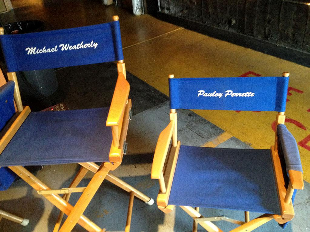 "<a href=""https://twitter.com/#!/M_Weatherly"" rel=""nofollow"">@M_Weatherly</a>'s chair and my chair on the set of ""<a href=""http://yhoo.it/AAdnnY"" rel=""nofollow"">NCIS</a>."" — <a href=""https://twitter.com/#!/PauleyP"" rel=""nofollow"">@PauleyP</a>"