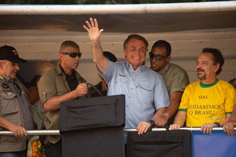 President of Brazil Jair Bolsonaro speaks to supporters during a demonstration on Brazil's Independence Day on September 07, 2021 in Sao Paulo, Brazil. (Photo by Amauri Nehn/NurPhoto via Getty Images)