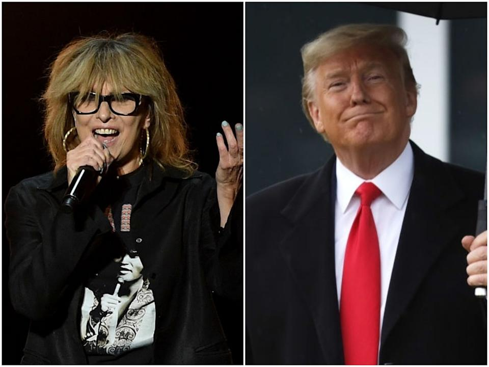 The musician Chrissie Hynde performs in concert in 2016, and Donald Trump in February 2020: Ethan Miller/Alex Wong/Getty Images
