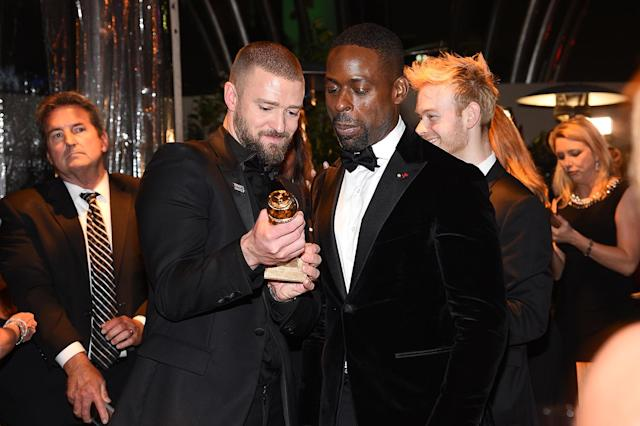 <p>Justin Timberlake and Sterling K. Brown enjoy NBC and USA Network's post-Golden Globe Awards party in the Jean-Georges Restaurant at the Waldorf Astoria Beverly Hills. (Photo: Kevork Djansezian/NBC/NBCU Photo Bank via Getty Images) </p>