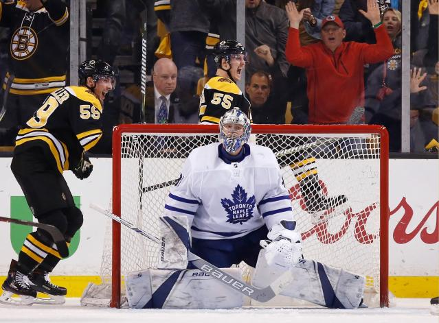 Boston Bruins' Noel Acciari (55) celebrates his goal behind Toronto Maple Leafs' Frederik Andersen, of Denmark, during the third period of Game 5 of an NHL hockey first-round playoff series in Boston, Saturday, April 21, 2018. (AP Photo/Michael Dwyer)