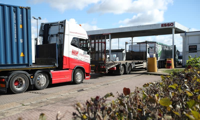 Lorries wait to refill at the Watling Street truck stop amid the fuel shortage in Flamstead, St Albans
