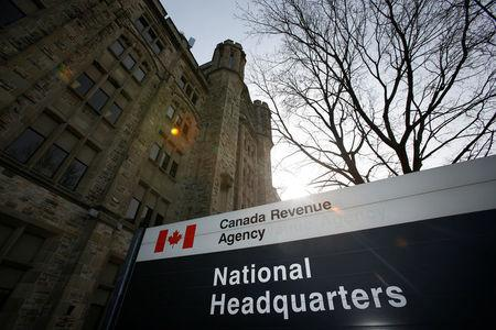 A sign is pictured in front of the CRA national headquarters in Ottawa